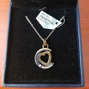 """Elisa Gems """"Devoted"""" crescent gold heart necklace"""